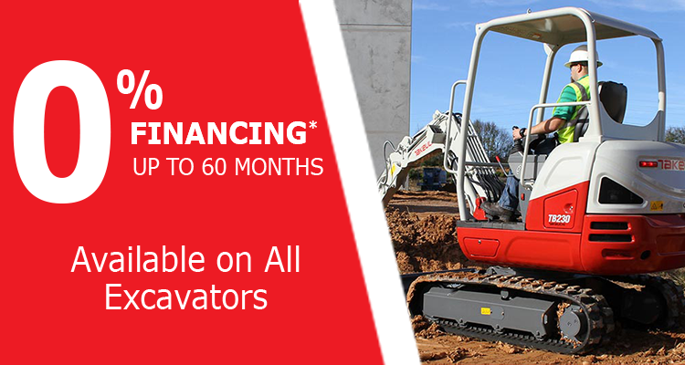 0% Financing for 60 Months on Takeuchi Excavators at GT Mid Atlantic